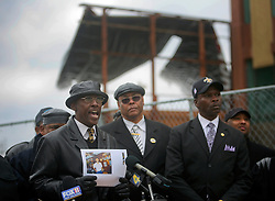 02 March 2010. New Orleans, Louisiana, USA. <br /> Civil Rights leaders gather at the notorious Danziger Bridge in New Orleans East, scene of the Sunday Sept 4th, 2005 murder of 40 yr old Ronald Madison and 19 yr old James Brissette by New Orleans police. <br /> Reverend Dr Leonard Lucas addresses the media.<br /> The police are under federal investigation for an alleged cover up of the botched killings in the chaotic aftermath of hurricane Katrina. <br /> Photo; Charlie Varley.