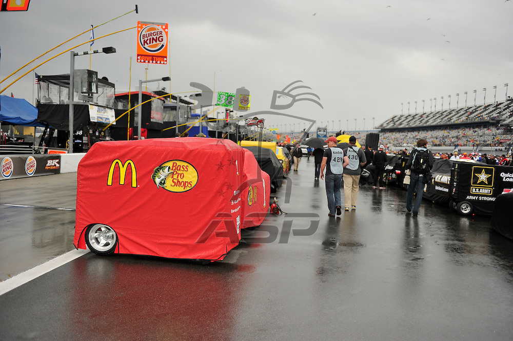 Daytona Beach, FL - FEB 26, 2012:  The NASCAR Sprint Cup Series teams take to the track for the Daytona 500 race at the Daytona International Speedway in Daytona Beach, FL.