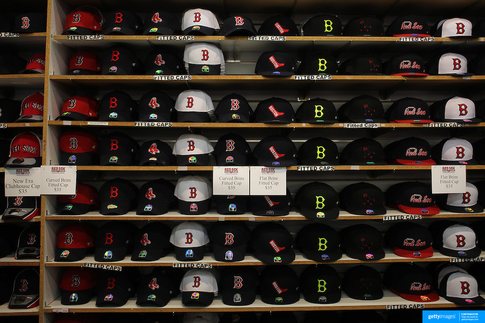 Boston Red Sox baseball caps for sale in the club store during the Boston Red Sox V Tampa Bay Rays, Major League Baseball game on Jackie Robinson Day, Fenway Park, Boston, Massachusetts, USA, 15th April, 2013. Photo Tim Clayton