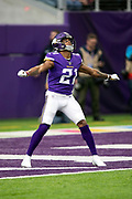 Minnesota Vikings rookie cornerback and kick returner Mike Hughes (21) calls for a fair catch on a kick during the NFL week 6 regular season football game against the Arizona Cardinals on Sunday, Oct. 14, 2018 in Minneapolis. The Vikings won the game 27-17. (©Paul Anthony Spinelli)