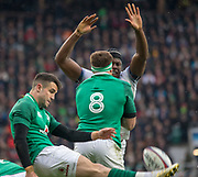 Twickenham, United Kingdom.   Natwest 6 Nations : Conor MURRAY, protected by JB STANDER, as Maro ITOJE attempts to charge down the clearence kic. England vs Ireland. at the  RFU Stadium, Twickenham, England, <br /> <br /> Saturday   17.03.18<br /> <br /> [Mandatory Credit; Peter Spurrier/Intersport-images]