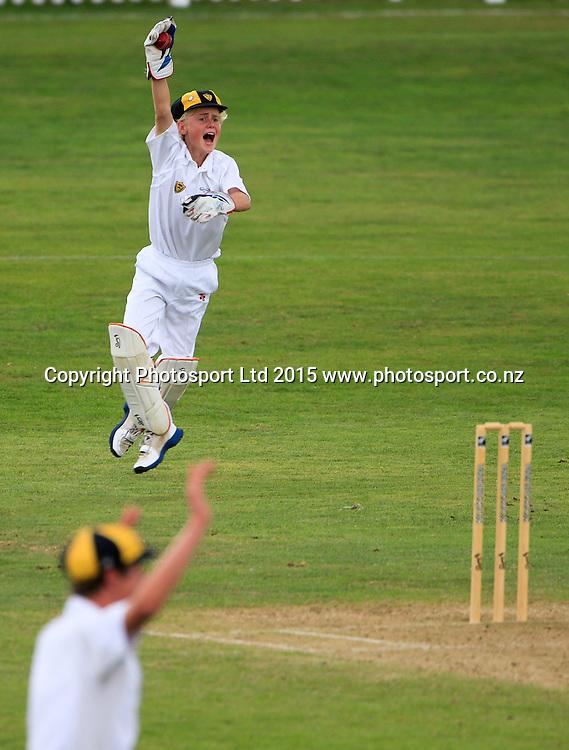 Tauranga Boy's College v Wellington College. NZCT Junior Secondary School Boys' National cricket finals, Fitzherbert Park, Palmerston North, New Zealand. Friday, 20 February, 2015. Copyright photo: John Cowpland / www.photosport.co.nz