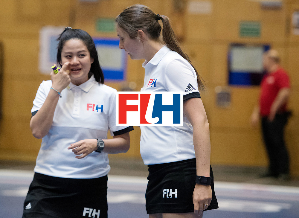 BERLIN - Indoor Hockey World Cup<br /> United States - Namibia<br /> foto: Umpires <br /> WORLDSPORTPICS COPYRIGHT FRANK UIJLENBROEK