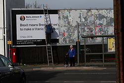 "UK DORSET CHRISTCHURCH 13FEB19 - The pro-remain Led by Donkeys poster campaign launch a Boris Johnson poster in Christchurch, Dorset. Johnson's slogan is ""Brexit means Brexit - and we'll make a titanic success of it"".<br /> <br /> jre/Photo by Jiri Rezac<br /> <br /> © Jiri Rezac 2019"