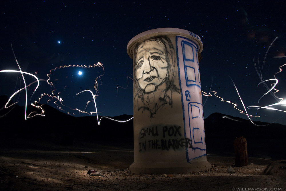 An abandoned railway structure is illuminated with artificial lights in Anza-Borrego Desert State Park.