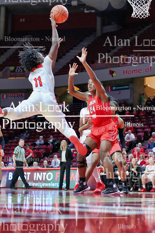 NORMAL, IL - December 04: A jordanesk move by Te Te Maggett at Kelen Kenol during a college women's basketball game between the ISU Redbirds  and the Austin Peay Governors on December 04 2018 at Redbird Arena in Normal, IL. (Photo by Alan Look)