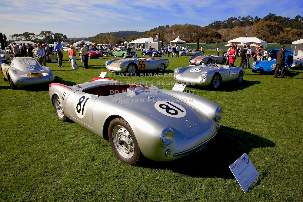 Image of a vintage 1954 Porsche 550 Prototype Spyder at the Porsche Race Car Classic, Quail Lodge, Carmel, California, America west coast.
