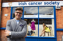 Repro Free: 03/09/2013 Stylist Darren Kennedy shows BT employee Anne Keirse and model Holly Carpenter what frugal fashion you can find in your local charity shop to launch the first ever, all-Ireland, Great BT Charity Shops Challenge with the Irish Cancer Society and Marie Curie Cancer Care.  The event sees over 170 BT Ireland staff take over the running of a charity shop on Thursday 3rd October. Remember our charity shops ~ Volunteer ~ Shop ~ Donate.  Visit www.cancer.ie/shops Picture Andres Poveda