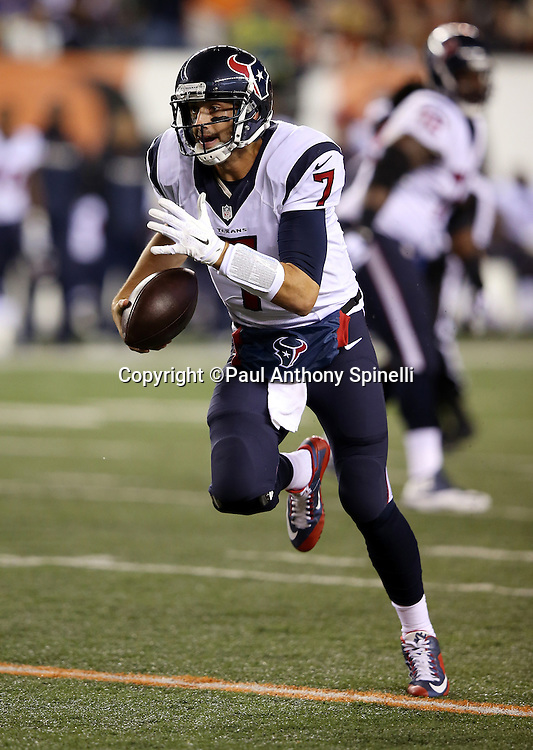 Houston Texans quarterback Brian Hoyer (7) runs for a 15 yard gain to the Cincinnati Bengals 6 yard line for a first down and goal to go in the second quarter during the 2015 week 10 regular season NFL football game against the Cincinnati Bengals on Monday, Nov. 16, 2015 in Cincinnati. The Texans won the game 10-6. (©Paul Anthony Spinelli)