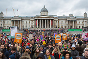 UNITED KINGDOM, London: 04 March 2018 Thousands of supporters stand on Trafalgar Square during the #March4Women rally in London this afternoon. Thousands of people marched from Parliament to Trafalgar Square to celebrate International Women's Day and 100 years since the first women in the UK gained the right to vote. <br /> Rick Findler / Story Picture Agency