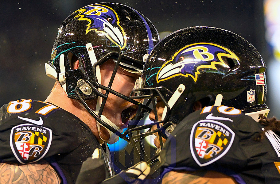 BALTIMORE, MD - DECEMBER 23: Baltimore Ravens tight end Maxx Williams (87) celebrates with wide receiver Chris Moore (10) after catching a four yard touchdown pass in the fourth quarter against the Indianapolis Colts on December 23, 2017, at M&T Bank Stadium in Baltimore, MD. The Baltimore Ravens defeated the Indianapolis Colts, 23-16. (Photo by Mark Goldman/Icon Sportswire)