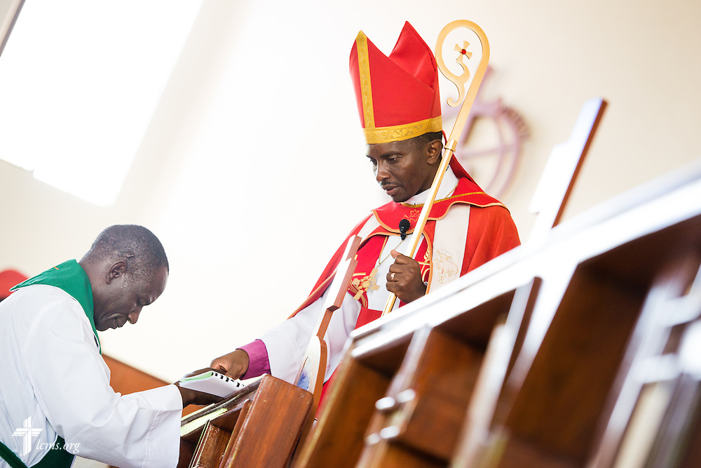 Led by Bishop Emmanuel Makala, a pastoral candidate is ordained in a service with more than 1,000 worshippers on Sunday, March 15, 2015, at the Evangelical Lutheran Church in Tanzania – South-East of Lake Victoria Diocese's (ELCT-SELVD) Ebenezer Cathedral in Shinyanga, Tanzania. LCMS Communications/Erik M. Lunsford
