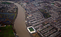 General view of Fulham's ground Craven Cottage from the air