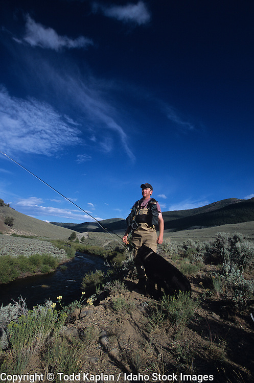 Idaho, Copper Basin, East Fork Lost River, Fly Fishing, fisherman, summer, man looking , late afternoon, trout fishing