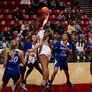 24 February 2018: The San Diego State women's basketball team closes out it's home schedule of the regular season Saturday afternoon against San Jose State. San Diego State Aztecs forward Baylee Vanderdoes (34) battles San Jose State players for a rebound in the first half. At halftime the Aztecs lead the Spartans 36-33 at Viejas Arena.<br /> More game action at sdsuaztecphotos.com