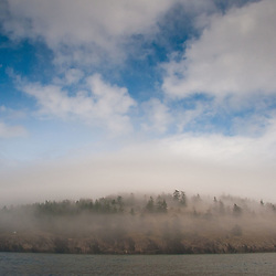 Morning Fog Burns Off, Stuart Island, Washington, US