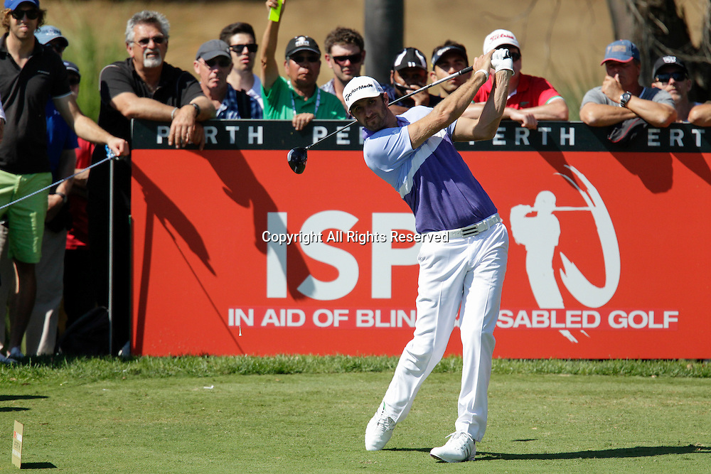 18.10.2013 Perth, Australia. Dustin Johnson (USA) drives from the 13th tee during day 2 of the ISPS Handa Perth International Golf Championship from the Lake Karrinyup Country Club.