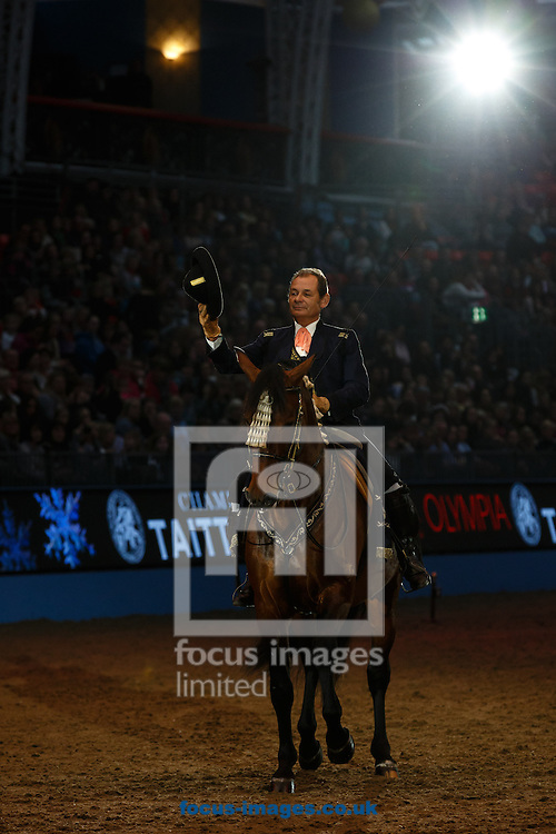 Picture by Mark Chappell/Focus Images Ltd 077927 63340<br /> 18/12/2013<br /> The Royal Andalusian School of Equestrian Art International Displayz on day three of the London International Horse Show at Olympia, London.