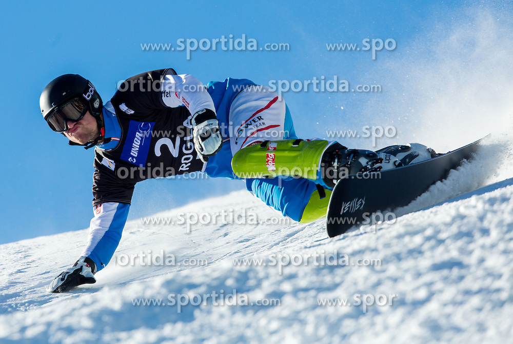 Sebastian Kislinger of Austria competes during Qualification Run of Men's Parallel Giant Slalom at FIS Snowboard World Cup Rogla 2015, on January 31, 2015 in Course Jasa, Rogla, Slovenia. Photo by Vid Ponikvar / Sportida
