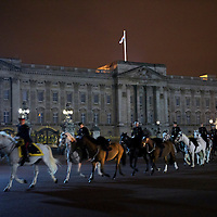 Armed forces round up horses in front of Buckingham Palace before participating in a full rehearsal of the royal wedding in the early morning hours two days before the scheduled wedding of Prince William and Kate Middleton on April 29, 2011.