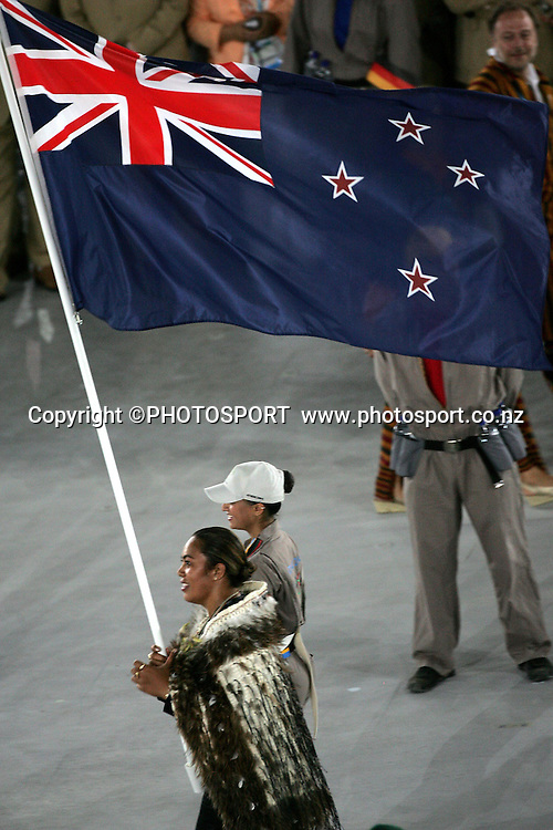 NZ flag bearer Beatrice Faumuina at The Olympic Opening Ceremony, Athens, Greece, Friday 13 August 2004.<br />PHOTO: Andrew Cornaga/PHOTOSPORT