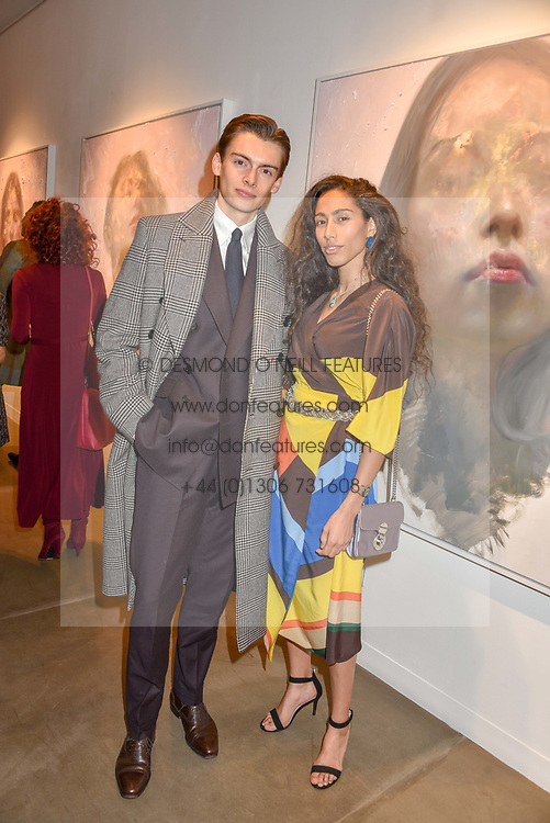 12 December 2019 - Mathias Le Fevre and Ciinderella Balthazar at a private view of Lethe by Henrik Uldalen at JD Malat Gallery. 30 Davies Street, London.<br /> <br /> Photo by Dominic O'Neill/Desmond O'Neill Features Ltd.  +44(0)1306 731608  www.donfeatures.com