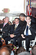 l to r: Mayor Bloomberg, Governor David Patterson, Rev. Al Sharpton and Bruce Ratner at the Ground breaking at The Atlantic Yards for the Barclay Center, which will be the future home for the Brooklyn Nets on March 11, 2010 in Brooklyn New York. Photo Credit: Terrence Jennings