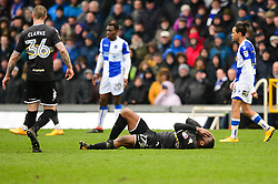 Nathan Cameron of Bury goes down injured - Mandatory by-line: Dougie Allward/JMP - 30/03/2018 - FOOTBALL - Memorial Stadium - Bristol, England - Bristol Rovers v Bury - Sky Bet League One