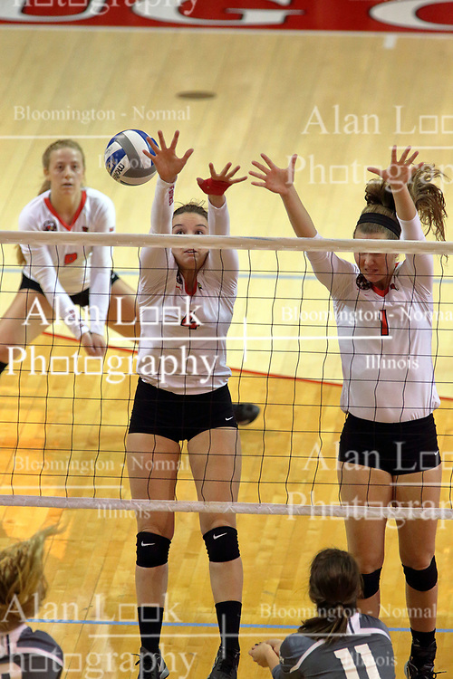 06 November 2015:  Ratasha Garbes(4) and Ali Line(1) share a block attempt during an NCAA women's volleyball match between the Bradley Braves and the Illinois State Redbirds at Redbird Arena in Normal IL (Photo by Alan Look)