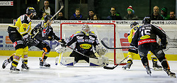05.12.2015, Messestadion, Dornbirn, AUT, EBEL, Dornbirner Eishockey Club vs UPC Vienna Capitals, 27. Runde, im Bild v.l. Macgregor Sharp, (UPC Vienna Capitals #16), Olivier Magnan Grenier, (Dornbirner Eishockey Club, #02), Florian Hardy, (Dornbirner Eishockey Club, #49) Simon Ganache, (UPC Vienna Capitals #91) und Chris D'Alvise, (Dornbirner Eishockey Club, #15)// during the Erste Bank Icehockey League 27th round match between Dornbirner Eishockey Club and UPC Vienna Capitals at the Messestadion in Dornbirn, Austria on 2015/12/05, EXPA Pictures © 2015, PhotoCredit: EXPA/ Peter Rinderer