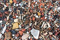 Old animal bones, flint, chalk, coal, and brick pebbles washed up along the Thames, London, UK.