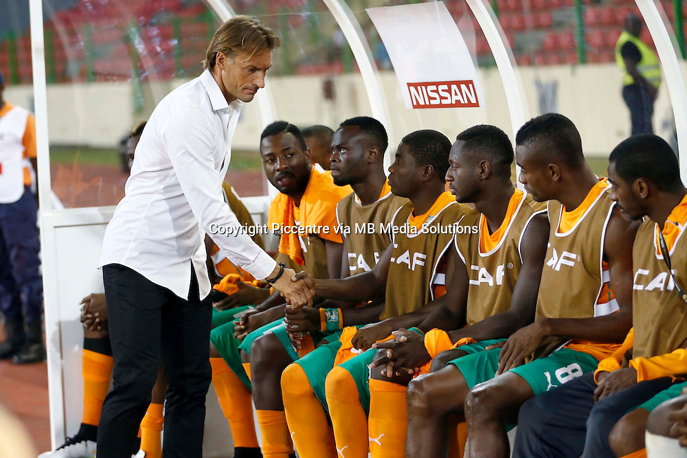 Herve Jean Marie Roger Renard, the coach of Cote de Ivoire during their AFCON group D match against Cameroon at Estadio de Malabo in Equatorial Guinea on January 28, 2015.Photo/Mohammed Amin/www.pic-centre.com (Equatorial Guinea)
