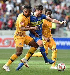Cape Town-180915-  Cape Town City  midfielder Roland Putsche challenged by Kaizer Chiefs midfielder Philani Zulu and Sphelele Ntshangase  in the ABSA Premiership clash at the cape Town Stadium.City are trying to keep winning their home games and their position on the log.Photographs:Phando Jikelo/African News Agency/ANA