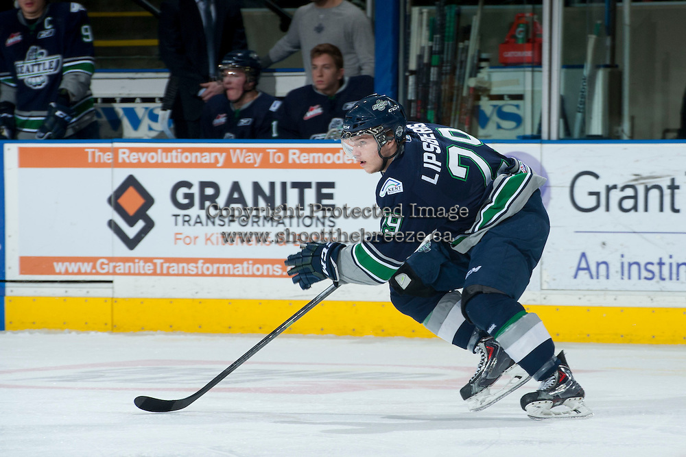 KELOWNA, CANADA - APRIL 5: Roberts Lipsbergs #29 of the Seattle Thunderbirds skates against the Kelowna Rockets on April 5, 2014 during Game 2 of the second round of WHL Playoffs at Prospera Place in Kelowna, British Columbia, Canada.   (Photo by Marissa Baecker/Getty Images)  *** Local Caption *** Roberts Lipsbergs;