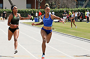 Brianna Rollins aka Brianna McNeal (USA), right, defeats Leya Buchanan (CAN) to win the women's 100m in 11.20 during the Jim Bush Southern California USATF Championships, Saturday, June 29, 2019, in Long Beach,  Calif.  (Ken McLin/Image of Sport)
