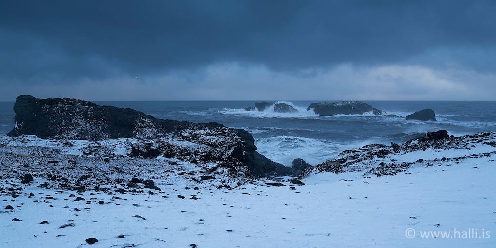 Snowstorm at Dyrholaey, south coast of Iceland - snjór og brim við Dyrhólaey