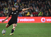 JOHANNESBURG, South Africa, 25 July 2015 : Debutant, Lima Sopoaga of the All Blacks kicks his first penalty during the Castle Lager Rugby Championship test match between SOUTH AFRICA and NEW ZEALAND at Emirates Airline Park in Johannesburg, South Africa on 25 July 2015. Bokke 20 - 27 All Blacks<br /> <br /> © Anton de Villiers / SASPA