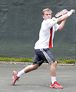Arthur Peller, from Cincinnati competes in the first set of the finals in the 41st Weston Memorial Tennis Tournament at the Virginia Hollinger Memorial Tennis Club, Monday, May 26, 2008.