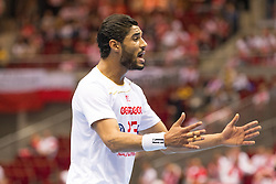09.04.2016, Ergo Arena, Gdansk, POL, IHF Herren, Olympia Qualifikation, Mazedonien vs Tunesien, im Bild Oussama Hosni // during the IHF men's Olympic Games handball qualifier between Macedonia and Tunisia at the Ergo Arena in Gdansk, Poland on 2016/04/09. EXPA Pictures © 2016, PhotoCredit: EXPA/ Newspix/ Tomasz Zasinski<br /> <br /> *****ATTENTION - for AUT, SLO, CRO, SRB, BIH, MAZ, TUR, SUI, SWE only*****
