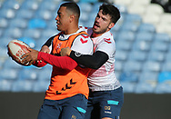 Reece Lyne (L) tackled by Oliver Gildart (R) during the England Rugby League captain's run ahead of the 3rd Autumn International Series Match at Elland Road, Leeds<br /> Picture by Stephen Gaunt/Focus Images Ltd +447904 833202<br /> 10/11/2018