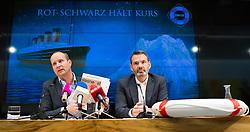 15.12.2014, Parlamentsklub, Wien, AUT, NEOS, Pressekonferenz mit dem Titel: Ein Jahr Regierung - wie gehts der Titanic?. im Bild v.l.n.r. Klubobmann NEOS Matthias Strolz und Bundesgeschäftsführer Feri Thierry // f.l.t.r. Leader of the Parliamentary Group NEOS Matthias Strolz and Feri Thierry during press conference of NEOS at austrian parliament in Vienna, Austria on 2014/12/15. EXPA Pictures © 2014, PhotoCredit: EXPA/ Michael Gruber