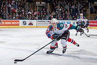 KELOWNA, CANADA - JANUARY 10: Wil Kushniryk #14 of the Kelowna Rockets skates with the puck over the blue line against the Spokane Chiefs on January 10, 2017 at Prospera Place in Kelowna, British Columbia, Canada.  (Photo by Marissa Baecker/Shoot the Breeze)  *** Local Caption ***