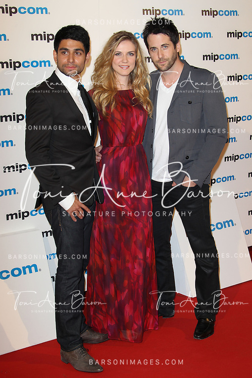 CANNES, FRANCE - OCTOBER 08:  Danny Rahim, Sara Canning and Niall Matter attend MIPCOM 2012 Opening Party as part of MIPCOM 2012 at Hotel Martinez on October 8, 2012 in Cannes, France.  (Photo by Tony Barson)