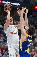 Real Madrid Luka Doncic and Khimki Moscow Stefan Markovic during Turkish Airlines Euroleague match between Real Madrid and Khimki Moscow at Wizink Center in Madrid, Spain. November 02, 2017. (ALTERPHOTOS/Borja B.Hojas)