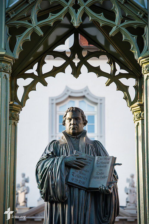 The Martin Luther statue near sundown on Wednesday, May 6, 2015, in Wittenberg, Germany. LCMS Communications/Erik M. Lunsford