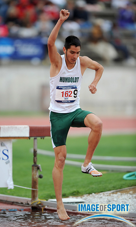 May 24, 2008; Walnut, CA, USA; Jesus Solis of Humboldt State finished 10th in the steeplechase with one shoe in 9:31.68 in the NCAA Division II Track & Field Championships at Mt. San Antonio College's Hilmer Lodge Stadium.