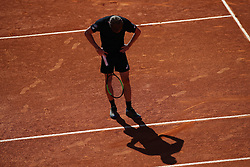 May 4, 2019 - Estoril, Portugal - David Goffin of Belgium reacts after losing a point against Stefanos Tsitsipas of Greece during the Millennium Estoril Open semifinal ATP 250 tennis tournament at the Clube de Tenis do Estoril in Estoril, Portugal on May 4, 2019. (Stefanos Tsitsipas won 2-1) (Credit Image: © Pedro Fiuza/NurPhoto via ZUMA Press)
