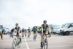 Leah Kirchman (CAN) and Floortje Mackaaij (NED) of Liv-Plantur Cycling Team ride to the sign on before the Aviva Women's Tour 2016 - Stage 1. A 138.5 km road race from Southwold to Norwich, UK on June 15th 2016.