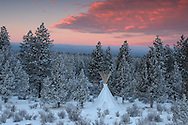 Tipi in snow, Oregon, USA