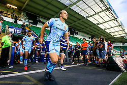 Tom Lawday of Exeter Chiefs leads his side out at Franklin's Gardens during the Premiership Rugby 7s tournament - Mandatory by-line: Robbie Stephenson/JMP - 27/07/2018 - RUGBY - Franklin's Gardens - Northampton, England - Exeter Chiefs 7s v Bath Rugby 7s - Premiership Rugby 7s